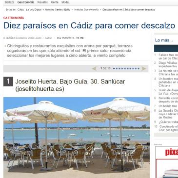 Lavozdigital.es nos incluye entre 10 paraísos de Cádiz para disfrutar de nuestra cocina al aire libre.